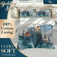 Battleships Gaming Hobby Collections Blue Quilt Cover Doona Cover with 2x Shams