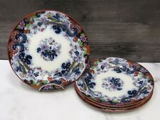 "Set of 4 Ridgway Corey Hill Flow Blue Polychrome Plates 7.5"" Imari Chinoiserie"