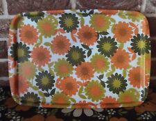 plateau de cuisine en fibre de verre  décor fleurs orange  vintage 1970  46x32cm