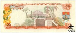 1968 Bahamas British Colony $5 Queen Government House Colorful Bank Note (Rare)