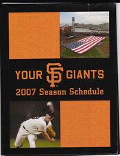 2007 SAN FRANCISCO GIANTS BASEBALL POCKET SCHEDULE