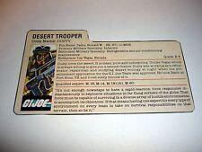 1985 DUSTY FILE CARD G.I. Joe Vintage Action Figure PEACH / AWESOME SHAPE
