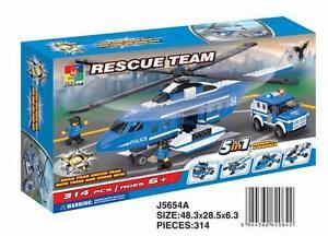 Woma Polizei Rettungshelikopter und Fahrzeug Bausteine Set 314 Teile J5654A