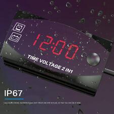 Motorcycle Voltage Metertime 2 In 1 Voltmeter Red Digital Display Waterproof