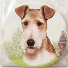"""Fox Terrier Dog Absorbent Car Coaster Stoneware 2.5"""" Home Office Gift by Es Pets"""