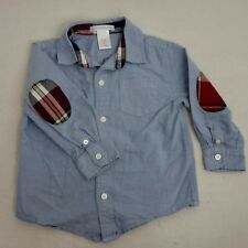 Janie and Jack Boys 18-24 Months Blue Button Shirt Plaid Elbow Patch NN27