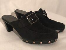 STUART WEITZMAN Mules Buckle Black Leather Suede Size 8 Women's