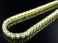 Sterling Silver Yellow Gold Finish Single Row Pronged Simulated Diamond Necklace