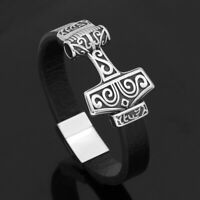 Men's Norse Viking Stainless Steel Celtic Thor Hammer Mjolnir Leather Bracelet