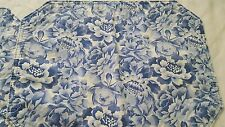 "Four powder blue floral stripe print cotton reversible placemats 11"" x 16"" vtg"