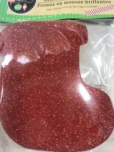 New Foam Winter Christmas Shapes Kids Crafts Glitter Red Stocking (10 ct)