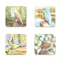 Set of 4 British Wildlife Birds Robin Blue Tit Owl Robin Coasters Tea Coffee Mat