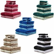 Set Of 10 Luxury Egyptian Cotton Beach Bath Towel Hand Face Cloth Bale Set Gift