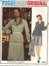 Vogue Pattern #2929 Emanuel Ungaro Jacket Skirt Blouse Size 8 Uncut 1970's