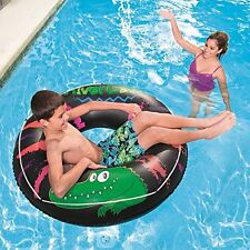 INFLATABLE RIVER GATOR 47 INCH RUBBER RING SWIMMING POOL RIDE ON TUBE