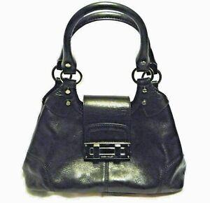 Karen Millen Handbag black real leather chrome details medium tote trapeze shape