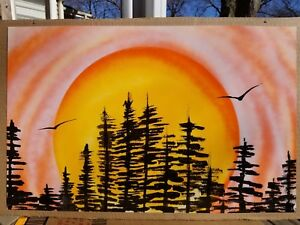 Spray Paint Art Forest Sunrise Original 14x22