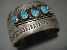 Outstanding Hvy Vintage Navajo Bisbee Turquoise Silver Bracelet Old