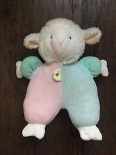 Vintage EDEN Lamb Sheep Thermal Waffle Weave Pastel Pink Blue Plush Musical