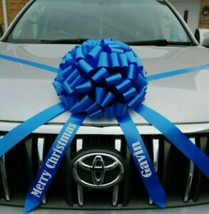 Giant Car Bow & Personalised name on tails Christmas birthday etc  ALL COLOURS