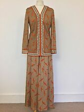TRUE VINTAGE 60's 70's MR DINO DESIGNER NOVELTY PRINT TOP MAXI SKIRT DRESS M