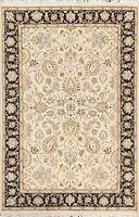 Vegetable Dye Floral Tebriz Oriental Area Rug Wool/ Silk Hand-knotted 4x6 Carpet