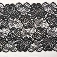 FS303 Black Floral Lace Trim Edge Trim Ribbon Dress Sewing 22.5CM wide DIY Craft
