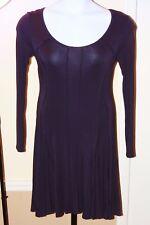 $295 VIVIENNE TAM Deep Purple L/S Scoop Neck Stretch Jersey A-Line Dress SIZE PS