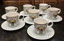 Lot of 7 Villeroy & Boch 1748 Basket Cups & Saucers Porcelain Germany