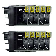 10 schwarze Patronen für Brother DCP195C DCP165C DCP375CW MFC250C LC980 LC1100