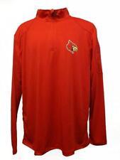 New Louisville Cardinals Mens Size M-L-XL-2XL Long Sleeve Red Poly 1/4 Zip Shirt