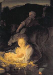 Kunstkarte: Antonio Correggio - Heilige Nacht / Maria, Josef u. das Jesuskind