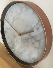 Copper Marble Effect Round Wall Mounted Clock Rose Gold Quartz Home Office