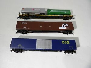 N scale Arnold Boxcars & Micro Trains Flatcar with trailers
