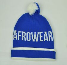 Original Afrowear Mens Knit Beanie OSFM Blue White Cuffed PomPom Toque