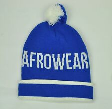 Original Afrowear Mens Knit Beanie OSFM Blue White Cuffed PomPom Toque