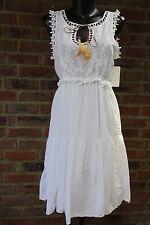 Sommer Kleid Hippie Stickerei Stickerei Weiß Volant Feder 36 38 40 Lagenlock