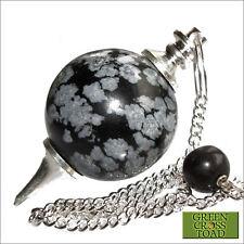 Obsidiana copo de nieve Radiestesia Péndulo Bola de Cristal Esfera Calmante & Calmante