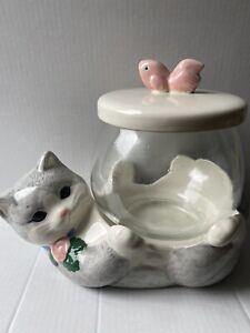 Vintage Treasure Craft Gray Kitty Cat Glass Fish Bowl Treat Cookie Jar Storage