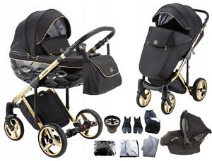 Limited Adamex Chantal Gold Black Baby Pram + Gold Car Seat Stroller Pushchair