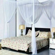 Mosquito Net Double Bed Canopy Four Poster Square King Size Protection Fly White