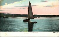 Vintage 1908 Sailboat on the Water in Point Pleasant New Jersey NJ Postcard