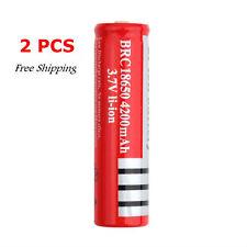 2 PCS 3.7V 4200mAh 18650 Li-ion Rechargeable Battery Flashlight XP