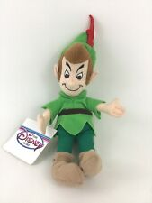 """Disney Store Peter Pan Green Bean Bag 8"""" Plush Stuffed Toy Vintage with Tags"""