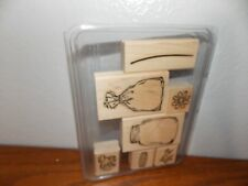 Stampin Up All Wrapped Up Mason Jar Fish Frog Flower 7 Wood Mount Stamps L0418