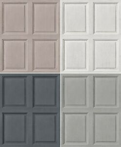 White Grey Wood Panel Panelling Feature Wall 3D Effect Quality Wallpaper Rolls