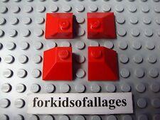 4x Lego Slope Brick 2x2 Double Convex Red House Castle Roof Corner Part #3045