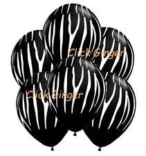 Zebra Tiger Striped Black Latex Balloons (x6) Jungle Zoo Helium Balloon