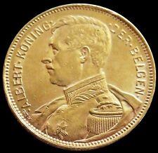 1914 GOLD MILITARY BUST BELGIUM KING ALBERT 20 FRANCS DER BELGES LEGEND COIN