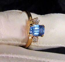 .Ladies Girls Aquamarine Lt Blue Birthstone Ring Mar Zircona Stones Size 4 1/2